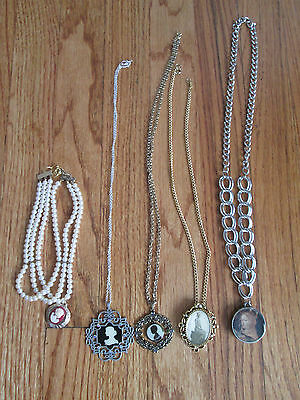 LOT OF 5 VINTAGE CAMEO PENDANT NECKLACE SILVER AND GOLD JEWELRY ALL DIFFERENT #B