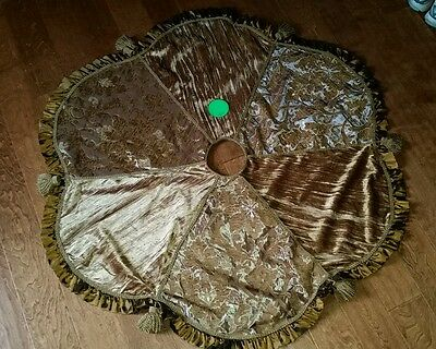"""Gold Christmas Tree Skirt 52"""" Brocade Chenille Tassels Heavy Gorgeous Quality"""