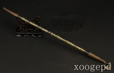 EXQUISITE OLD HANDWORK COPPER CARVED FLOWER USABLE SMOKING TOOL PIPE MARKED