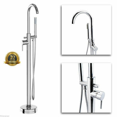 Free Standing Bath Shower Mixer Tap Floor Mounted Chrome Metal Over Bath filler