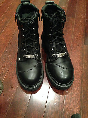 River Road Women's Double Zipper Motorcycle Boots Black Leather Size 7