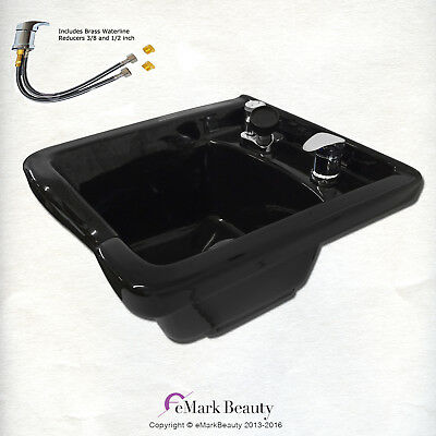 Square Shampoo Bowl Black ABS Plastic Shampoo Sink Salon Equipment TLC-B11 KSGT