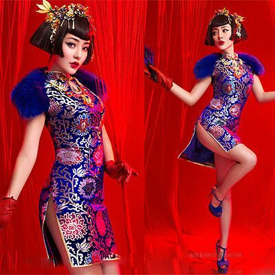 NEW Sexy Retro Cheongsam Blue Evening Dresses Party Dress Cocktail Ball Gown
