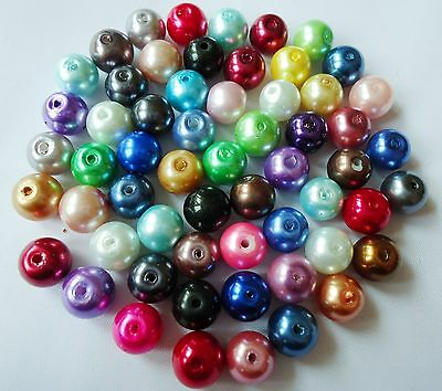 100pcs Mixed Glass Pearl Round Loose spacers Charms beads Findings 6mm H