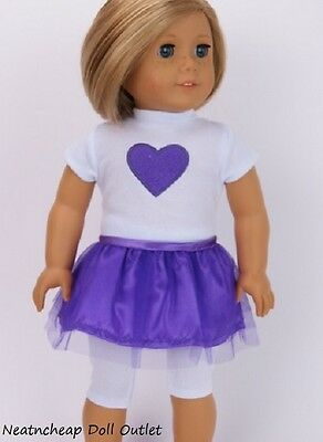 """Fits 18"""" American Girl Doll Purple Heart Top Skirt Legging Outfit Set 3Pc"""