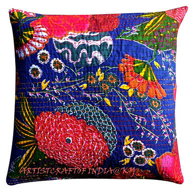 """16"""" INDIAN KANTHA CUSHION COVER HANDMADE DECORATIVE VINTAGE FLORAL BLUE PILLOW 3"""