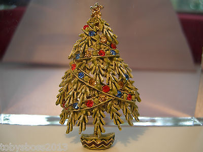 ART Green Enamel Frosted Christmas Tree Brooch with Colored Rhinestones