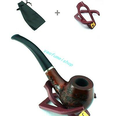 Durable Knight Men Wooden Delicate Carving Tobacco Smoking Pipe + Pouch +Stand