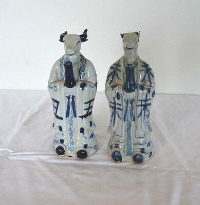 Pair of Chinese Zodiac Figurines, Blue and White painted Ceramic