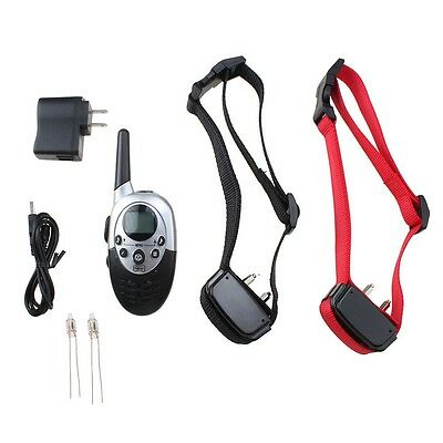 Waterproof 1000 Yard 2 Dog Shock Training Collar with Remote Rechargeable 4level