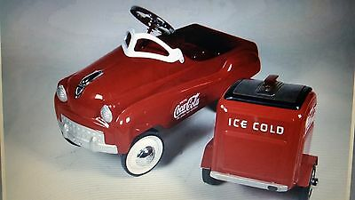 VINTAGE COCA COLA PEDDLE CAR WITH COOLER TRAILER ALL CUSTOM
