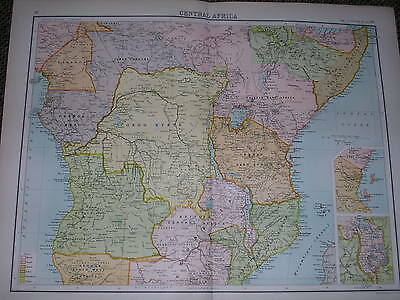 1898 LARGE VICTORIAN MAP ~ CENTRAL AFRICA ~ CONGO STATE RHODESIA