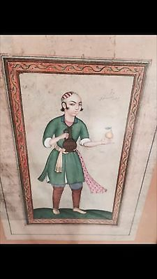 Antique 19th Cent Persian Ghajare Hand Painted Painting Sign Pir Morad Shabastry