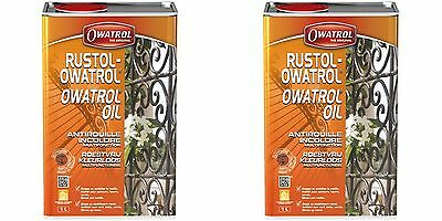 LOT DE 2 RUSTOL OWATROL 1 Litre DIRECT ROUILLE INCOLORE
