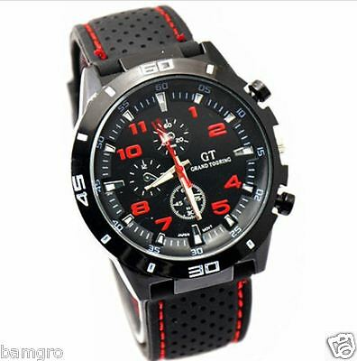 New INFANTRY Mens Army Sport Quartz Analogue Watch Black Rubber Strap k