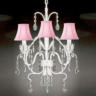 WROUGHT IRON CRYSTAL CHANDELIER LIGHTING TOLE W PINK SHADE COUNTRY FRENCH WHITE