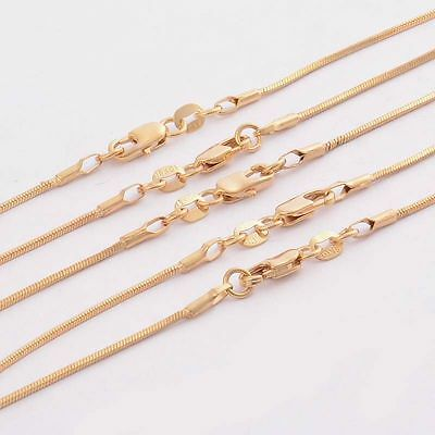 """Wholesale 5pcs 22"""" 18KGF Stamped Gold Plated 1 mm Women Snake Chain Necklace"""