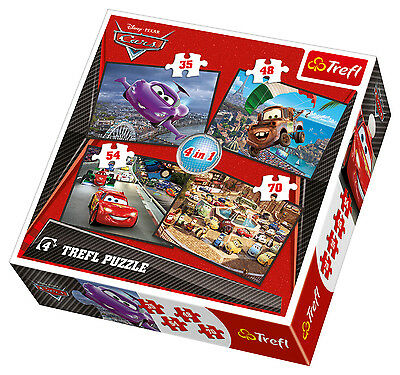 Puzzle Pappe Trefl 4 in 1 35 + 48 + 54 + 70 Teile Cars 2 34107