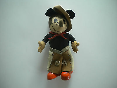 1930s Knickerbocker Mickey Mouse Cowboy Doll w/Chaps, Scarf, Hat; RARE Condition