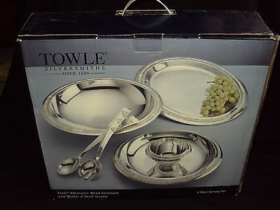 Beautiful TOWLE Alternative Silver Metal 4pc Serving Set - MOTHER OF PEARL