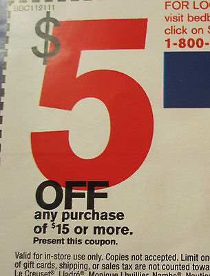(10) Bed Bath & Beyond Coupons $5 Off $15 Exp 4/20/2015
