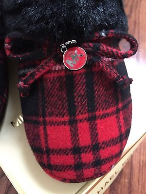 Michael Kors Women's Red Black Plaid Carter Slipper house Shoes size 7 New