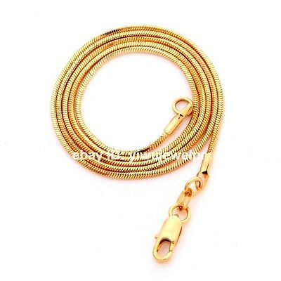 """1pc 22"""" Gold Plated 1mm Snake Fish bone Chain Necklace Link With Lobster Clasps"""