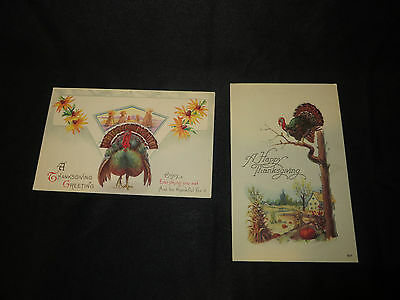 Vintage Postcards-Lot of 2-Thanksgiving Wishes/Greeetings - Unposted-early 1900s
