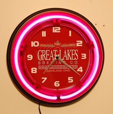 GREAT LAKES BREWING neon logo wall clock, new in the box