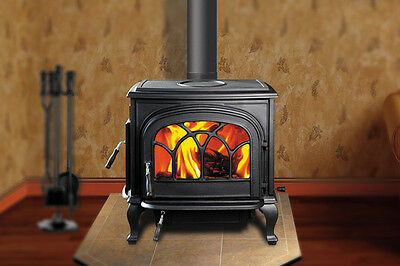 HI FLAME HF737 STALLION CAST IRON WOOD STOVE - BLK  - 75,000 BTU - New in box!