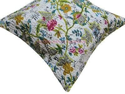 """16"""" INDIAN KANTHA CUSHION COVER HANDMADE DECORATIVE VINTAGE FLORAL PILLOW WHITE3"""