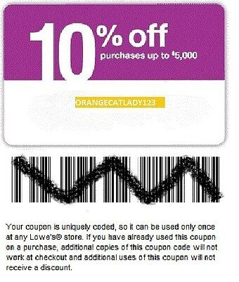 (10) LOWES 10% OFF YOUR ENTIRE PURCHASE COUPONS / 05-07-15 EXPIRATION