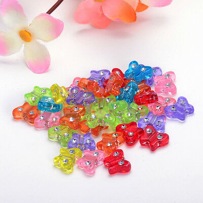 9x11mm 50PCS  FROSTED ASSORTED ACRYLIC MIX COLOR BUTTERFLY BEAD CHARM Y125