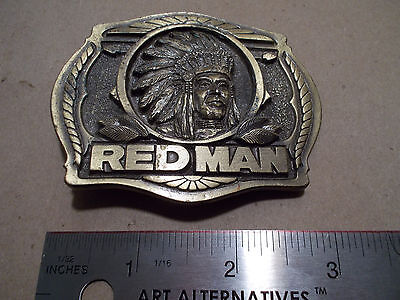 GREAT VINTAGE 1988 ***RED MAN CHEWING TOBACCO***  SOLID Belt Buckle -JUNK DRAWER