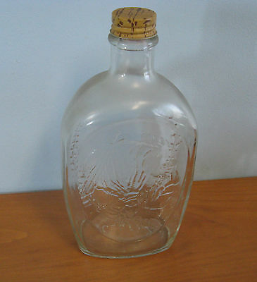 Vintage Glass Log Cabin Syrup Bottle with Cap Indian Head Nickel