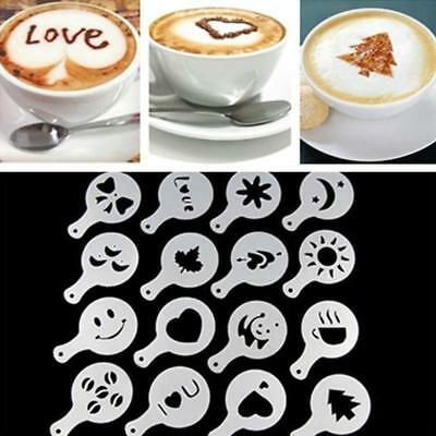 16Pcs Creative Coffee Barista Stencils Template Strew Pad Duster Spray Art JJ