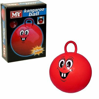 Kids Kangaroo Ball Red Smiley Face Hopper Ball with Handle 50cm Inflatable Toys