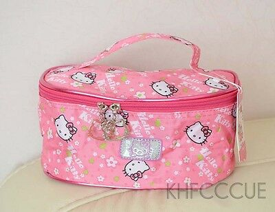 Hello Kitty Cute Cosmetic Bag Make up Case Bag Pink with Hand Strap Pink K150