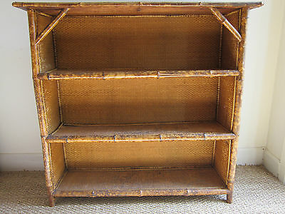 "Late C19 Bamboo & Rattan Open Bookcase 37"" tall 40"" wide"