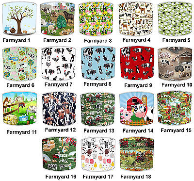 Lampshades Ideal To Match Children`s Farmyard Animals Duvets & Wallpaper Border.