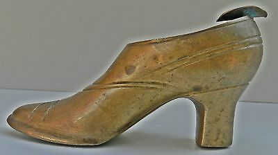 1900s Indian Antique Hand Crafted Carved Brass Shoe Shape Ashtray
