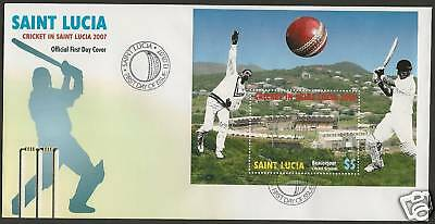 SAINT LUCIA 2007  ICC CRICKET WORLD CUP Souvenir Sheet FDC