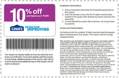 5 Lowes Coupons 10% OFF - 5/7/15 exp - Fast ship
