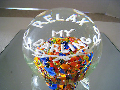 VINTAGE RELAX MY DARLING PAPERWEIGHT-ARTIST SIGNED KEMPLE-EXCELLENT!