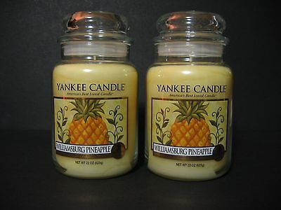 Lot of 2 Yankee Candle Williamsburg Pineapple 22 oz Large Jars New