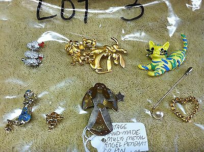 #3 Lot of 8 Vintage Fashion Scarf Lapel Dress Hat Pins Brooches Rhinestone More