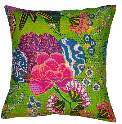 """16"""" INDIAN KANTHA CUSHION COVER HANDMADE DECORATIVE VINTAGE FLORAL GREEN PILLOW"""