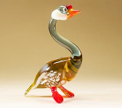 "Funky GOOSE Hand-Blown Russian Made Glass Bird Figurine ""MURANO"" Style  #A68"