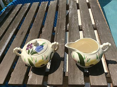 "9"" Blue Ridge Mountain Nosegay China sugar and creamer hand painted flowers"