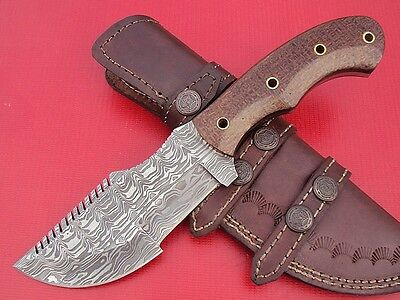 DAMASCUS CUSTOM HAND MADE BEAUTIFUL TRACKER KNIFE WITH G10 MICARTA HANDLE.